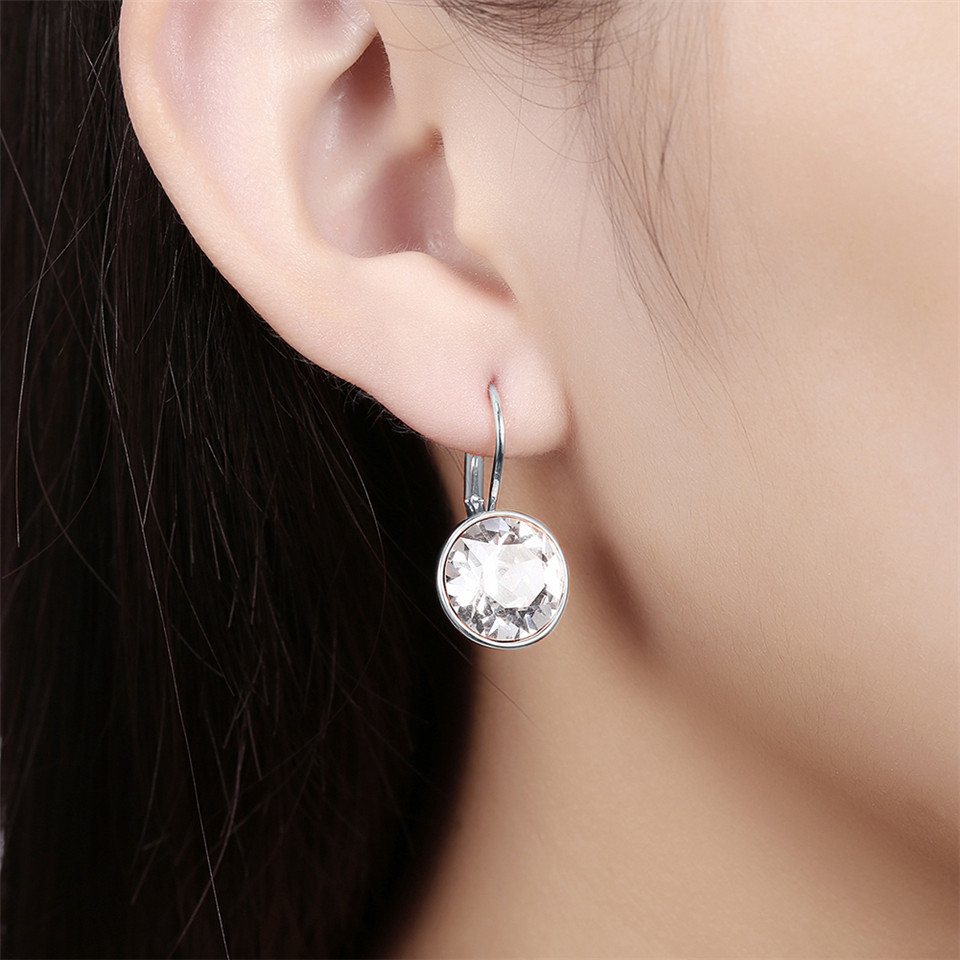 Fashion Crystals from Swarovski Colorful Earrings With Rhodium Color Plated Charm for Women Jewelry Gift XE2189