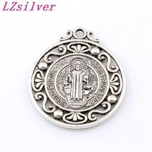 20pcs/lots Antique silver Saint St Benedict of Nursia Patron Against Evil Medal Alloy charm Pendants 40X45.5mm A-483