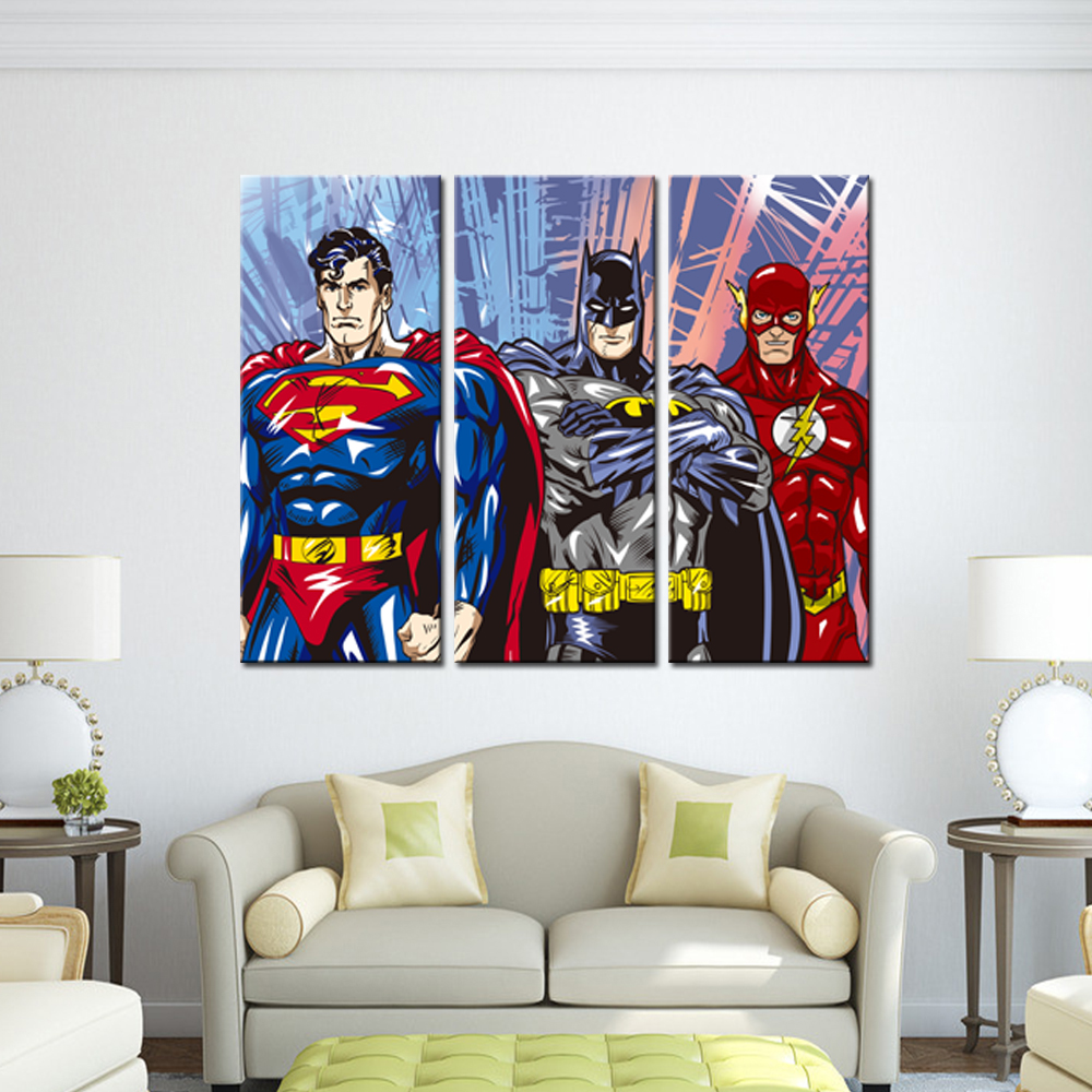 3 Pieces Canvas Painting Superhero Modern Home Wall Decor Canvas Art - Home Decor - Photo 2