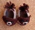 Sapatos de crochê Bebê menino Bebê Urso Crochet Sapatinho Crib Shoes