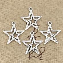 30 pçs encantos estrela pentagrama 23x20mm bronze antigo prata cor pingentes fazendo diy artesanal tibetano bronze prata cor jóias
