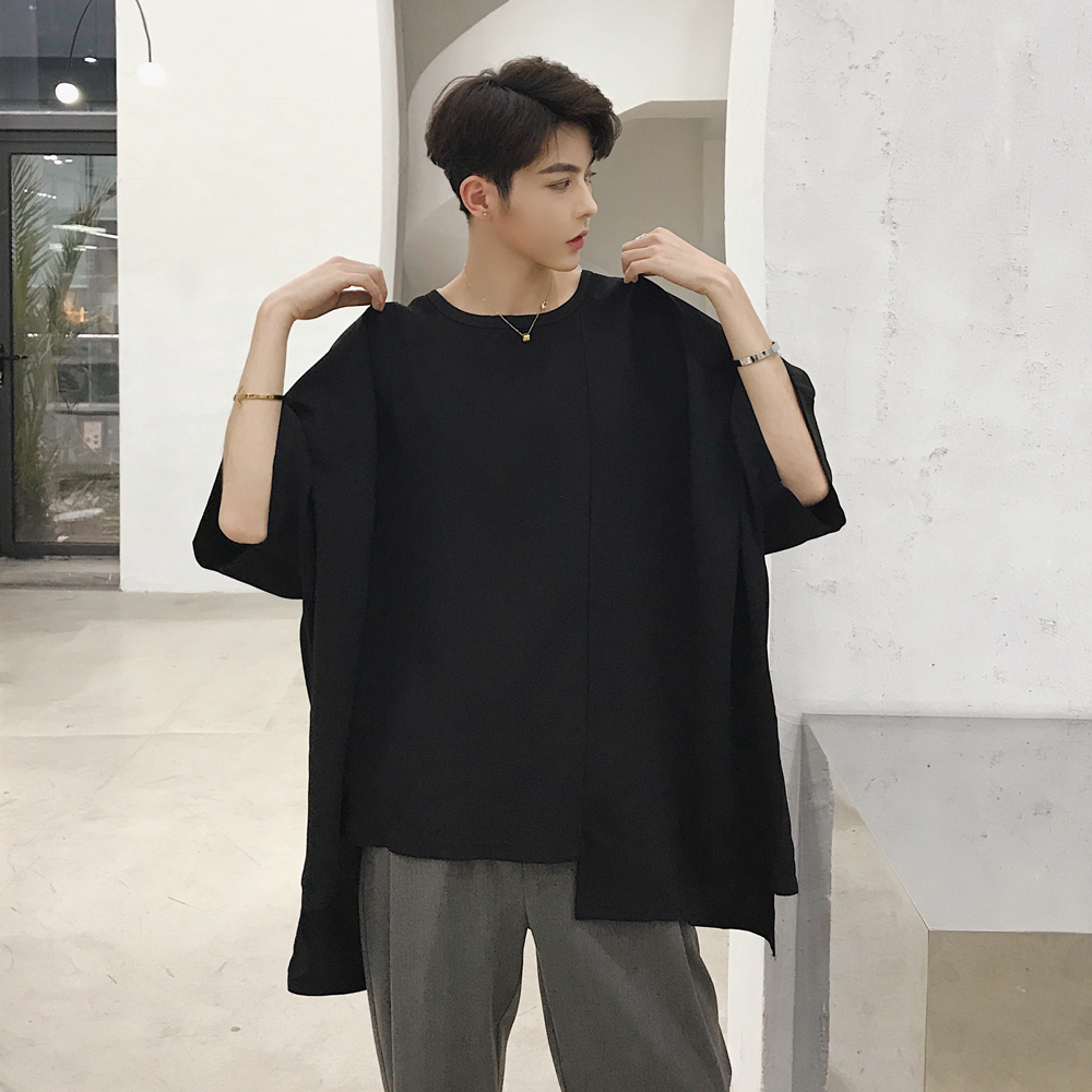 Mixcubic 2018 Summer Korean Style Cool Loose Asymmetric Design T