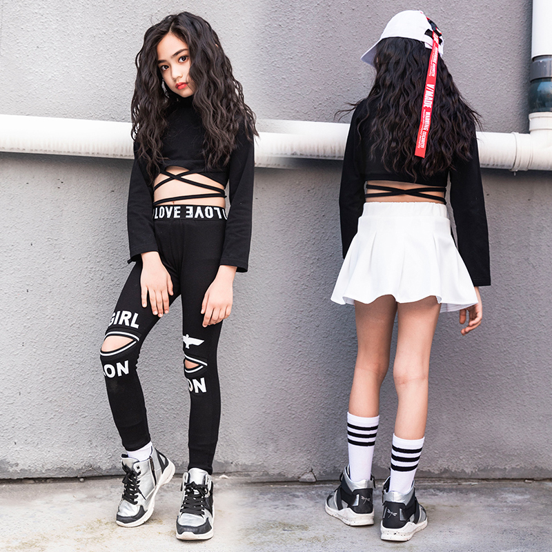 Girls Dance Costume Fashion Black White Hiphop Performance Clothing Jazz Stage Wear Kid Street Dance Practice Rave Outfit DC2235