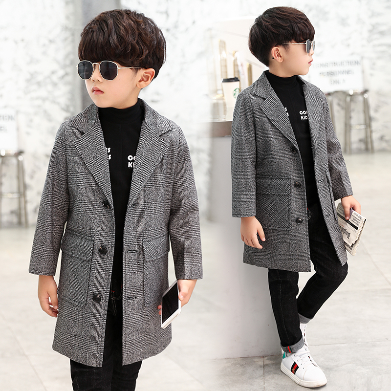 Boys windbreaker big boy 2018 new style fashion spring and autumn long section boy plaid retro jacket casual clothes [eam] high quality 2018 autumn spliced organza loose lace up long section double layer collar plaid skirt fashion new set la406
