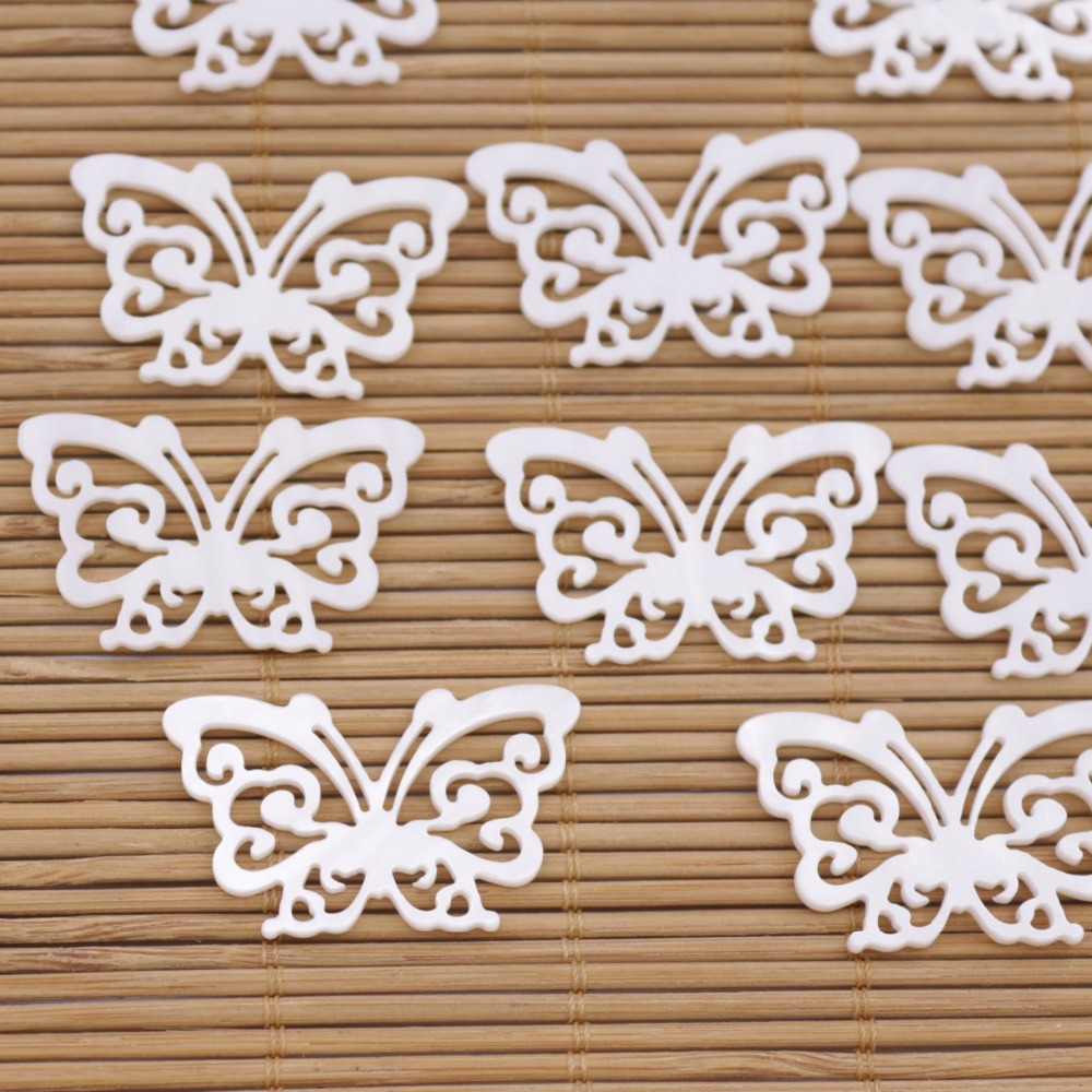Купить с кэшбэком 10 PCS Butterfly Shell Natural White Mother of Pearl Loose Beads 21mmX35mm