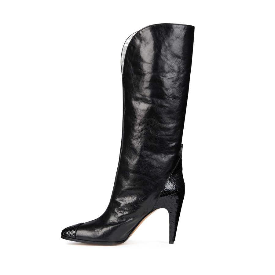 Prova Perfetto sarı yılan desen deri patchwork üzerinde kayma kadın çizmeler sivri burun başak yüksek topuk rahat kovboy çizmesi kadın