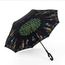 Folding Reverse Umbrella Double Layer Inverted Windproof Rain Car Umbrellas For Women
