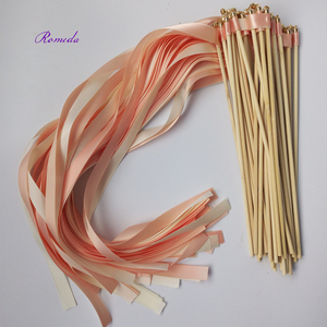 Image 5 - Hot selling 50pcs/lot coral and champagne wedding ribbon wands with gold bell  ribbon Twirling Streamers wedding ribbon stick