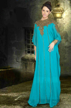 Long Sleeve Beaded Chiffon Dubai Abaya Islamic Arabic Style Evening Dress Formal Gown