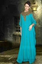 Long Sleeve Beaded Chiffon Dubai Abaya Islamic Arabic Style Evening Dress Formal Gown