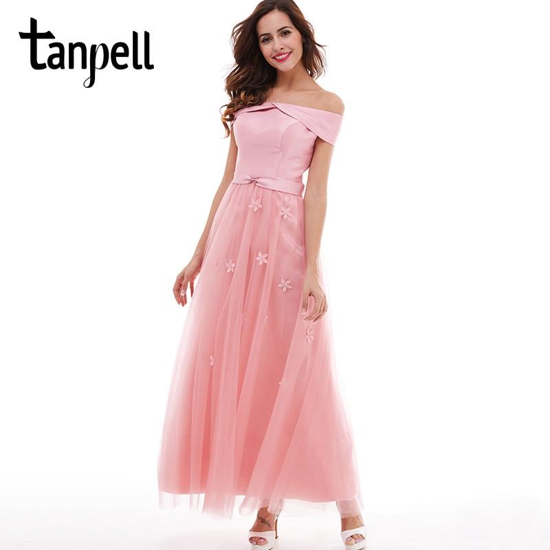 Tanpell long bridesmaid dress light plum off the shoulder appliques ankle length a line gown cheap women prom bridesmaid dresses