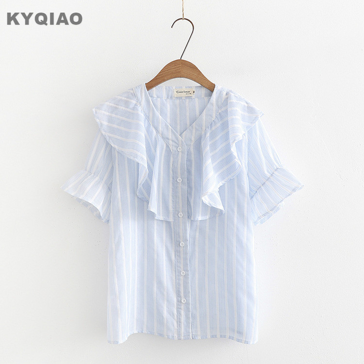KYQIAO LOLITA costumes 2018 mori girls summer Japan style fresh v neck short sleeve blue ...