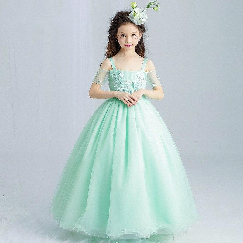 Long Girls Dress Princess Appliques Green Flower Girl