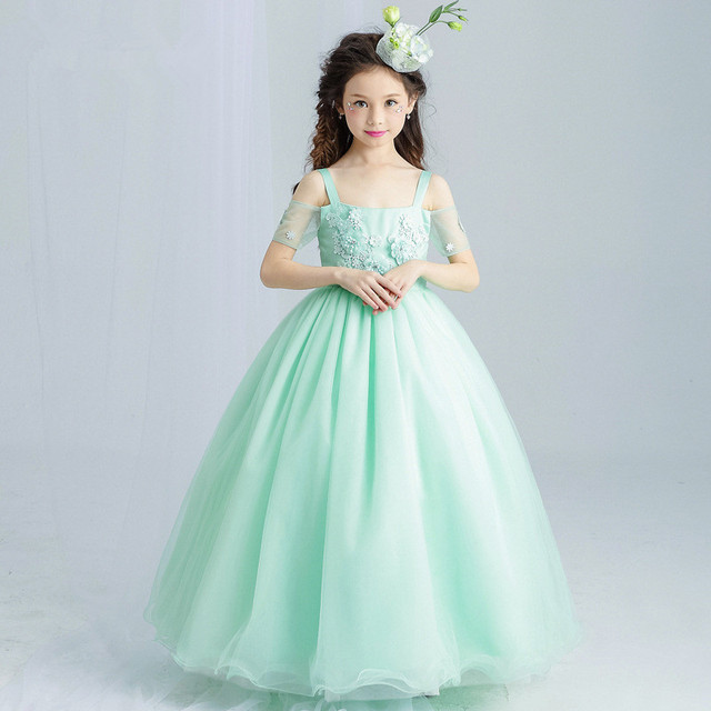 Long Girls Dress Princess Appliques Green Flower Girl Vestido for ...