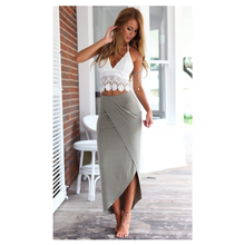 New Fashion Lace two-piece set irregularity Midi Skirt with high slit sex Deep V-Neck short tops Women's Sets