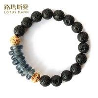 Lotus Mann Africain commerce gris couleur or d'émail match lava-rock bracelet