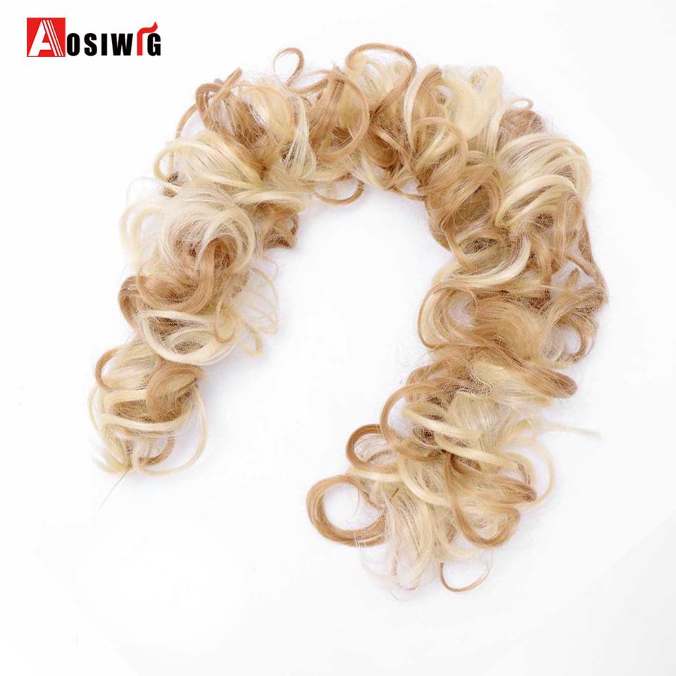 AOSIWIG Chignons Hair-Extensions Fake-Hair-Pieces Synthetic Women Curly Long Heat-Resistant
