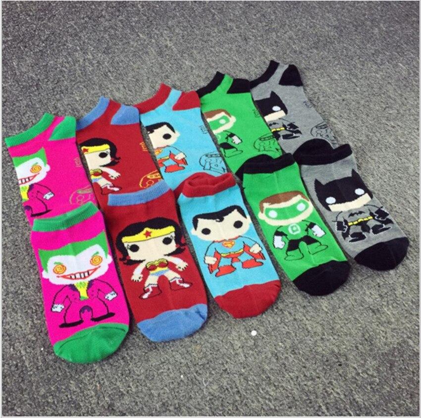 1 пара Для женщин мужские носки до лодыжки low cut Экипаж супер герой Джокер чудо женщина Бэтмен Повседневное хлопковые носки ...
