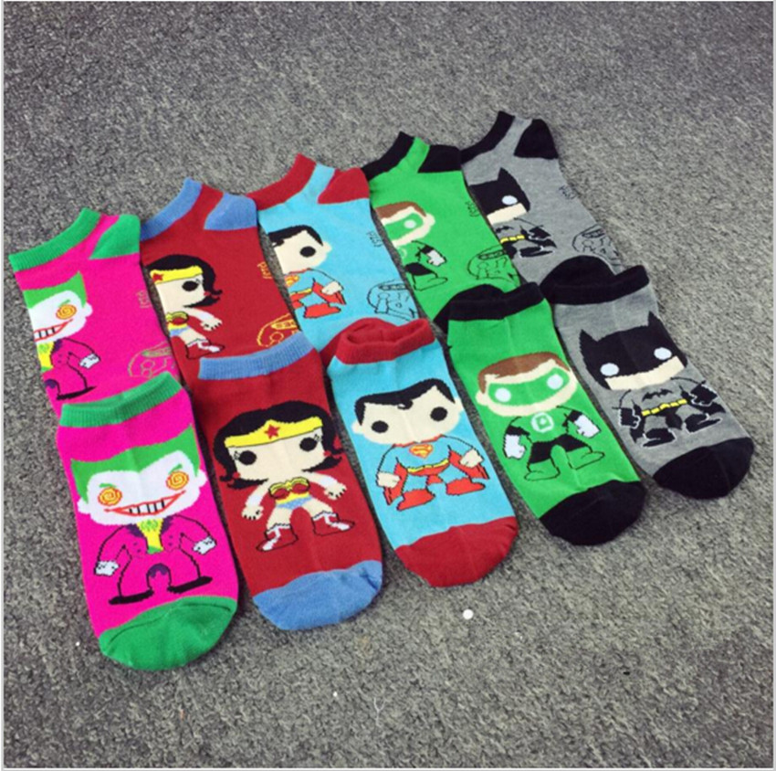 1pair Women Mens Ankle Socks Low Cut Crew Super Hero Joker Wonder Woman Batman Casual Co ...