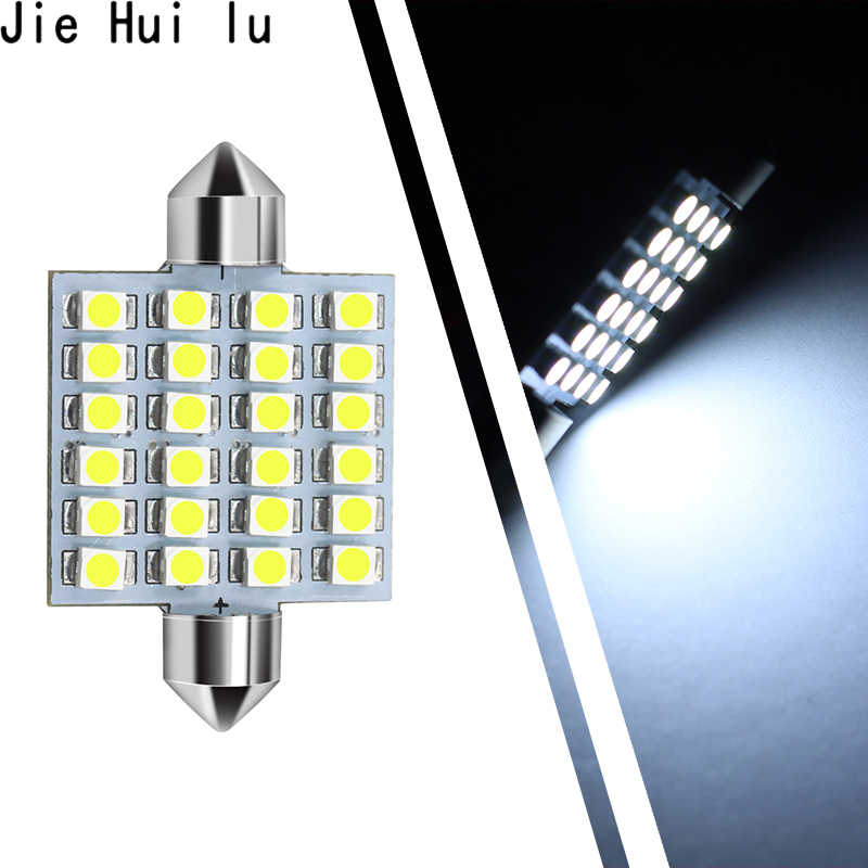31mm 36mm 39mm 41mm FESTOON 12 SMD 24LED 3528 LED Bulb C5W C10W Car Dome Light Auto Interior Map Roof Reading Lamp DC12V White