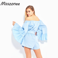 Misszonee women playsuits off shoulder flare sleeve romper Elegant bow ruffle overalls Causal blue summer beach playsuit
