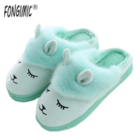 FONGIMIC Women Men Winter Couple Slipper Women Warm Shoes Cute Cartoon Comfortable Slippers Plush Popular Style