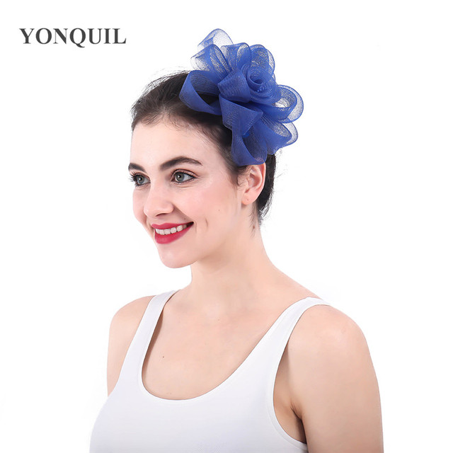 f53cac6df0f6d royal blue crinoline fascinators hat hair accessories for wedding church  Party Kentucky derby ascot race 2018