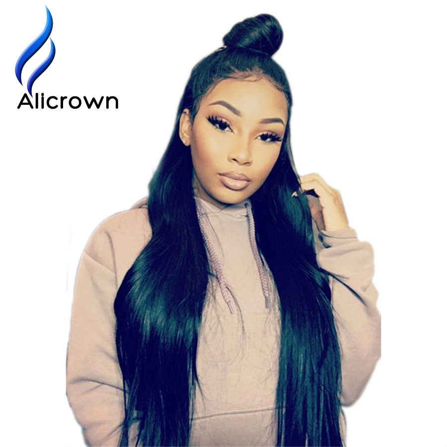 Alicrown 360 Lace Frontal Human Hair Wigs For Black Women Straight Brazilian Remy Hair Natural Color Pre Plucked Bleached Knots