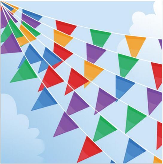 New 70 mét/lô Vải Đảng Bunting Đầy Màu Sắc Flags Banner Đối Với Đảng Wedding Sự Kiện Ngoài Trời Cửa Hàng Mở Cửa Cờ Trang Trí Cq001