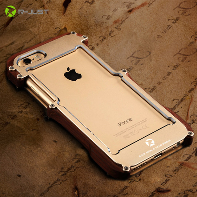 R-JUST Luxury Doom Dirt Shockproof Fundas For iPhone 7 7 Plus Metal Aluminum+wood Coque Cases For iPhone SE 5S 5 6 6S Plus cover