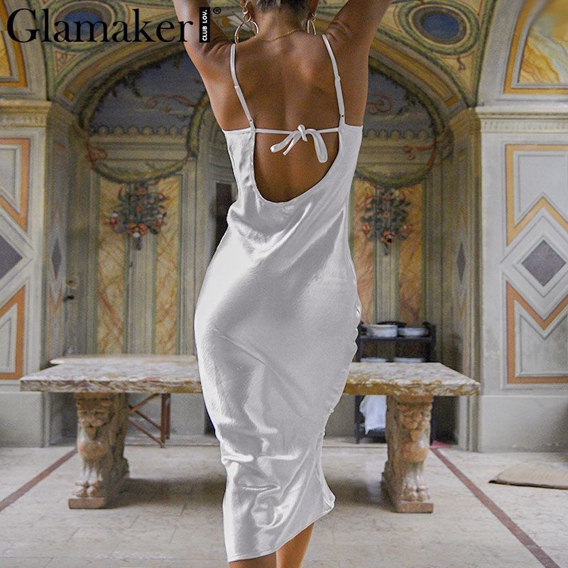 Glamaker Satin gold backless sexy bodycon long dress Women summer lace up white party dress Elegant female maxi club beach dress