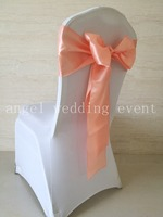Free Shipping 100pcs Peach Satin Sash Chair Sashes 15x275cm Chair Bow Knot For Wedding Party Hotel