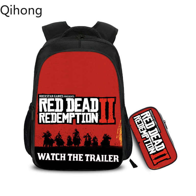2Pcs Games Red Dead Redemption 2 Flowers Dot Boy Girl School bag Women Bagpack Teenagers Schoolbags Canvas Lady Femme Backpack image