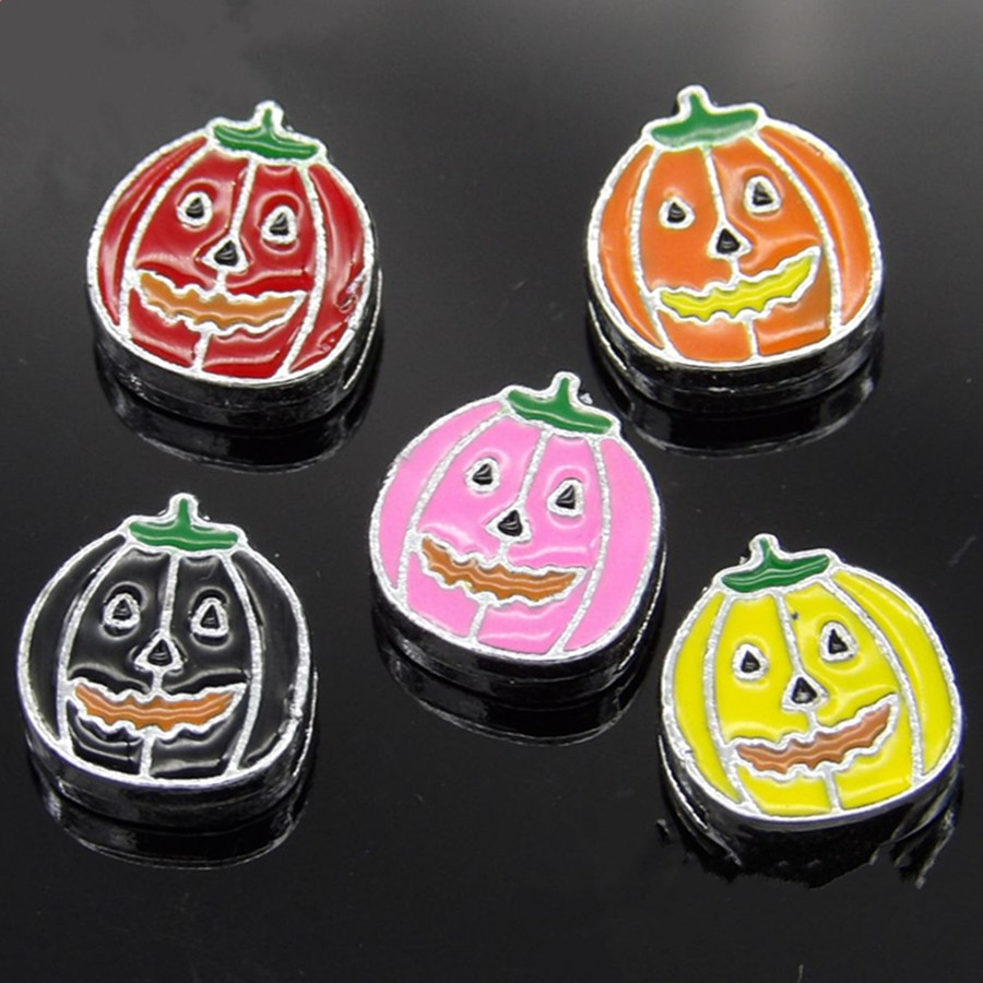 Wholesale 20PCS/Lot 8MM Pumpkin Slide Charms Mixed Colors Fit for 8MM Wristband or Belt SC144