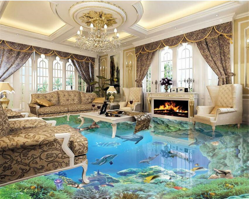 Beibehang HD underwater world floor murals 3D wallpaper floor living room PVC waterproof floor self - adhesive 3d flooring beibehang summer beach floor floor murals wall stickers 3d wallpaper for living room pvc floor self adhesive papel de parede 3d
