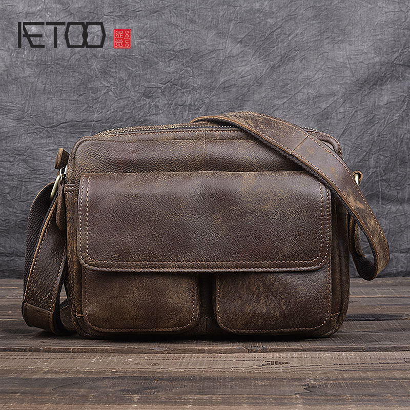AETOO Handmade retro leather cowhide leather shoulder bag new messenger bag casual men scrub leather postman bag
