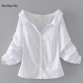 mejor selección 2f1db e8b37 SheMujerSky blusas y camisas blancas para Mujer Tops 2017 de hombro camisas  femeninas Top de verano