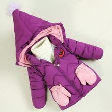 BibiCola baby girls winter coat toddler girls fahsion cute printing warm coats kids high quality cartoon hooded outerwear(China)