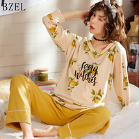 BZEL Spring Autumn Pajamas Sets V neck Sleep Lounge Cotton Pijama Mujer Long Sleeve Pyjamas Women Leisure Home Cloth 2 Piece Set