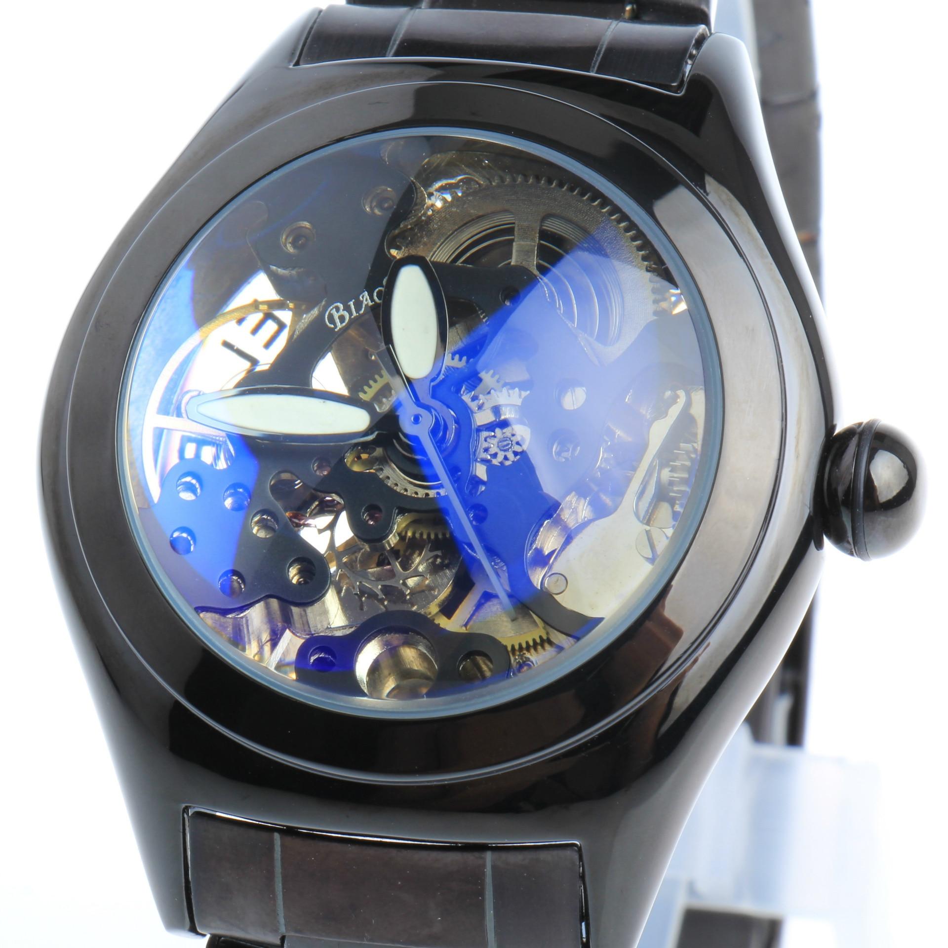 BIAOKA 3d Logo Design Blue convex glass Hollow Engraving Leather Steel Skeleton Mechanical Watches Men Brand