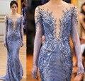 2016 новый специальный стиль фиолетовый русалка платья знаменитостей тюль вечернее платье аппликации отбортовывать пром платья
