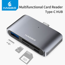 Hagibis Type C 카드 판독기 USB C USB 3.0 SD/Micro SD/TF OTG 카드 어댑터 (노트북/USB C 용) TypeC 다기능 변환기