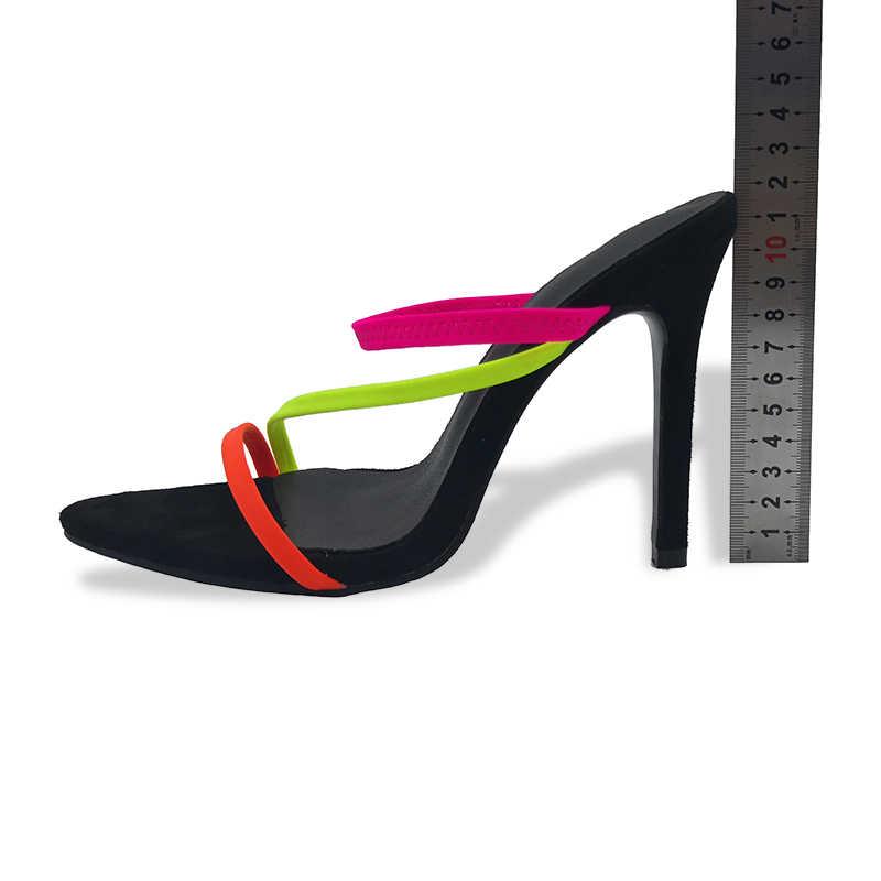 Kcenid Verão nova chinelos sensuais sandálias da moda 2019 mulheres peep toe de salto alto mulheres chinelos deslizamento em sandálias tamanho 12 sapatas das mulheres