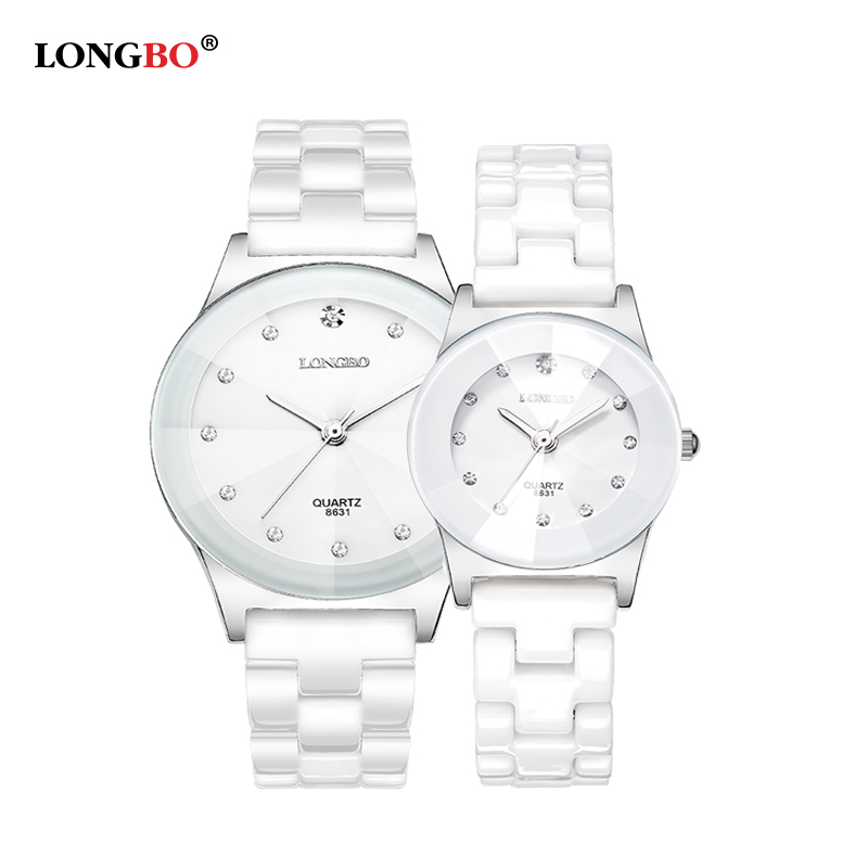 LONGBO  Luxury White Ceramic Mens Women Couple Watch Quartz Watches Water Resistant Classic Wristwatch High Quality