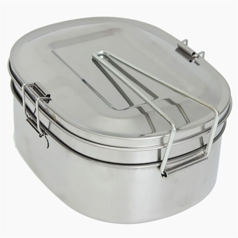 Silver Simple Square Stainless Steel Food Container Bento Lunch Box 2 layer About 1.05L About 16.5 X 12.5 X 7.3cm  цены