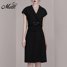 Max Spri 2019 New Women Two Piece Sets Fashion V Neck Top Sexy Office With Black Knee Length Skirts Casual Lady Hot