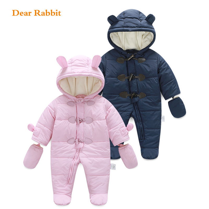 Thick snow wear warm Infant baby onesie rompers Winter spring clothes Newborn Boy Girl Romper Jumpsuit Hooded Kid coat For 0-18M