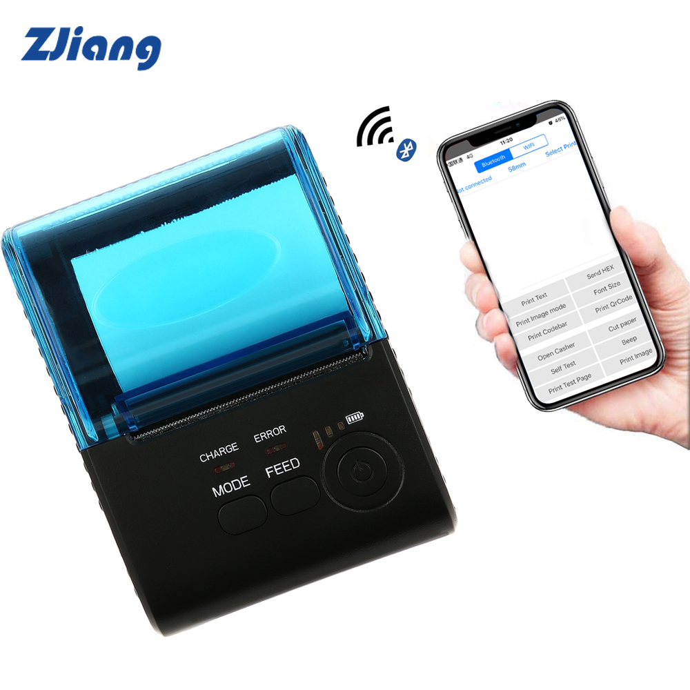 Zjiang 5805LN 58mm Thermal Receipt Printer 58mm Handhold POS Android iOS Bluetooth 4.0 Support 7 Pcs Android and 1 Pcs iOS himabm 1 pcs 100