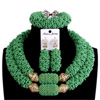 Godki Bridal Jewelry Sets African Beads Necklaces For Women Green & Gold Ladies Wedding Jewellery Set For Party Free Shipping