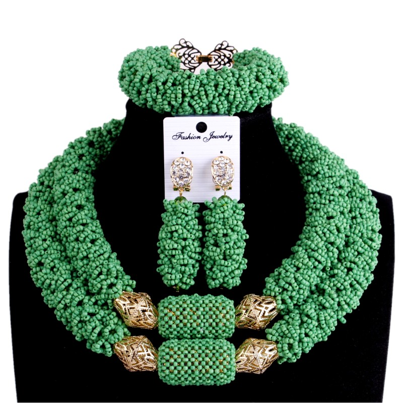 Godki Bridal Jewelry Sets African Beads Necklaces For Women Green & Gold Ladies Wedding Jewellery Set For Party Free ShippingGodki Bridal Jewelry Sets African Beads Necklaces For Women Green & Gold Ladies Wedding Jewellery Set For Party Free Shipping